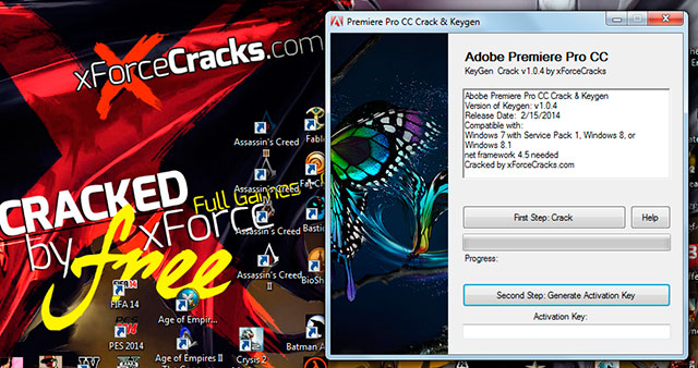 Premiere CC v1.0.4 cracked by xforce